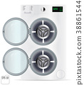 Open Front Load White Double Washing Machine 38861544