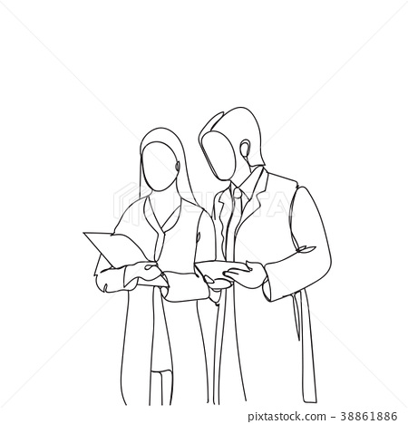 Silhouette Man And Woman Scientists In White Coats 38861886