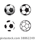 Football ball Icon , flat style,3D ,single line 38862249