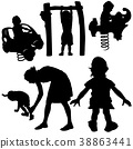 Children Playing Silhouettes 38863441
