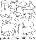 Silhouette elephant tiger bear giraffe flamingo 38863679