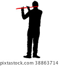 Silhouette of musician playing the flute on  white 38863714