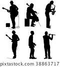 Silhouettes street musicians playing instruments 38863717