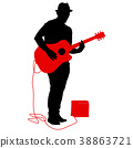 Silhouette musician plays the guitar on a white 38863721