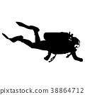 Black silhouette scuba divers on a white  38864712