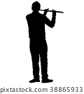 Silhouette of musician playing the flute  38865933