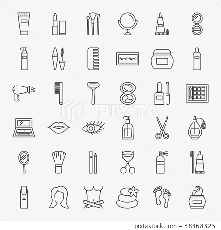 Cosmetics Line Icons Set 38868325