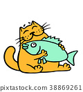 Cute orange cat hugging big fish. Vector 38869261