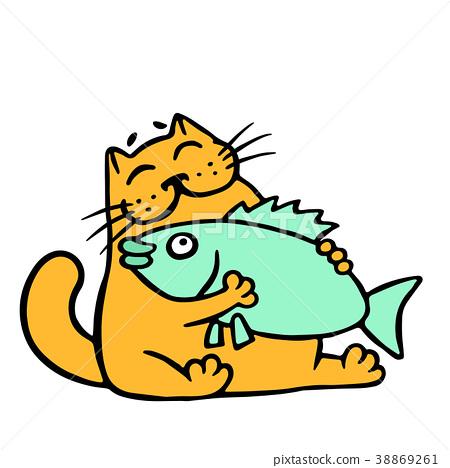 Cute orange cat hugging big fish. Vector 38869261