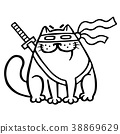 Fat ninja cat in mask and sword behind him. Vector 38869629