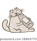 Cartoon gray cat drinks lemonade. Vector 38869770