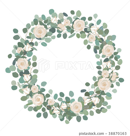 White Rose flowers and silver dollar Eucalyptus  38870163