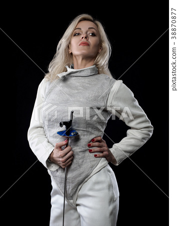 Portrait of adult woman fencer 38870877