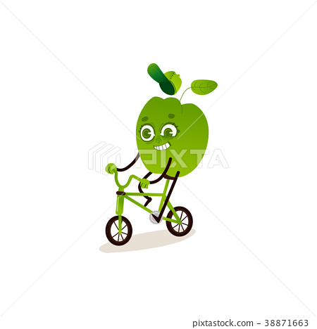 Green bell pepper with smile on his face is riding 38871663