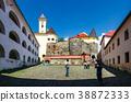 panorama of Palanok Castle courtyard 38872333