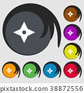 Ninja Star, shurikens icon sign. Symbols on eight 38872556