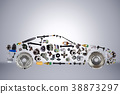 Passenger car assembled from new spare auto parts 38873297