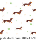 Seamless pattern with red dog and graass.  38874128