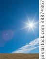 ท้องฟ้าสีครามและดวงอาทิตย์ 38874867