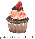 Watercolor Raspberry Chocolate Cupcakes  38875793