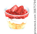 Watercolor Strawberry cheesecake in jar  38875794