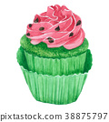 Watercolor Watermelon Cupcakes on white background 38875797