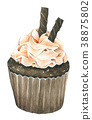 Watercolor Chocolate Cupcakes on white background 38875802