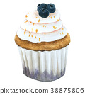 Watercolor Lemon Blueberry Cupcakes 38875806