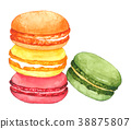 Watercolor Macaroon on white background 38875807