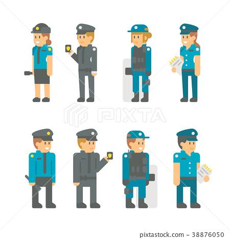 Flat design polices set 38876050