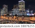 都市風景東京站夜視圖丸之內 38876255