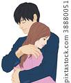 擁抱雙手男性閉合女性眼睛打開 38880051