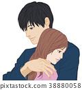 擁抱一隻手的男性眼睛張開女性眼睛的開口 38880058