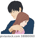 擁抱一隻手的男性閉眼女人睜開眼睛 38880060
