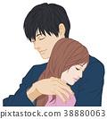擁抱一隻手男性閉合的女人關閉了女人 38880063