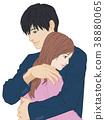 擁抱雙手男性眼睛開放女人眼睛開放 38880065