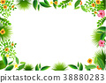 Exotic tropical leaf and frower border background  38880283