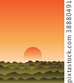 sunset with mountains 38880491