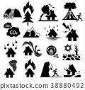 natural disaster icon set 38880492