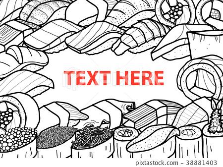 A lot of sushi in black outline random. 38881403