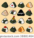 15 styles of isolated colorful onigiri on pastel. 38881464