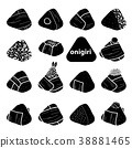 15 styles of isolated silhouette onigiri. 38881465