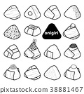 15 styles of isolated onigiri in black outline. 38881467