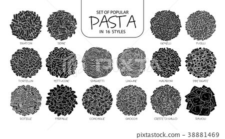 Set of isolated silhouette popular pasta. 38881469