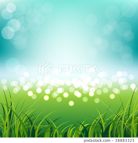 Blue sky with fresh spring grass background 38883325