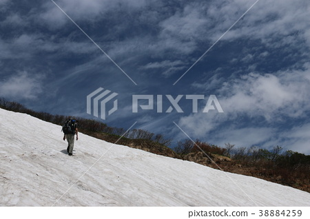Hakusan Road to the top of the mountain With blue sky, clouds and snow 38884259