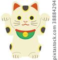 กวักมือเรียกแมวด้วยมือทั้งสองชูไม่มีประกาย 38884294