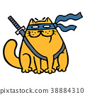 Cute fat ninja cat in a mask and a sword. Vector 38884310