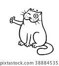 cat approves and shows a thumbs-up. vector  38884535