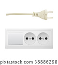 Electric adapter with two plug and switch. 38886298